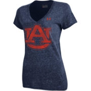 Under Armour Women's Auburn Tigers Blue  Heathered Triblend V-Neck T-Shirt