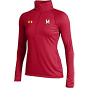 Under Armour Women's Maryland Terrapins Red UA Tech Micro Stripe Quarter-Zip Shirt