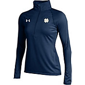 Under Armour Women's Notre Dame Fighting Irish Navy UA Tech Micro Stripe Quarter-Zip Shirt