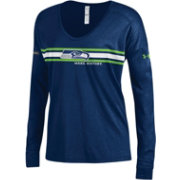 Under Armour NFL Combine Authentic Women's Seattle Seahawks Team Stripe Navy Long Sleeve Shirt