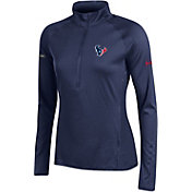 Under Armour NFL Combine Authentic Women's Houston Texans Tech Navy Quarter-Zip Performance Pullover