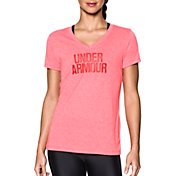 Under Armour Women's Threadborne Train Wordmark Twist Print V-Neck T-Shirt