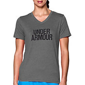 Under Armour Women's Charged Cotton Tri-Blend Wordmark V-Neck T-Shirt
