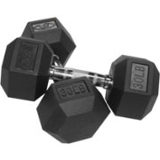Valor Fitness 30 lb. Rubber Hex Dumbbells