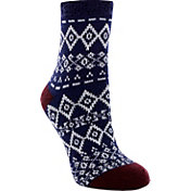 Yaktrax Women's Cozy Cabin Diamond Nordic Crew Socks