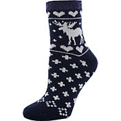 Yaktrax Women's Holiday Cozy Moose Cabin Socks