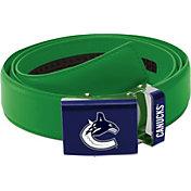 Zephyr Belts by Mission Men's Vancouver Canucks Logo Green Leather Belt