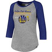 '47 Women's 2017 NBA Champions Golden State Warriors Grey/Royal Raglan Three-Quarter Sleeve Shirt