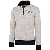 '47 Men's Denver Broncos Kodiak Quarter-Zip Grey Top