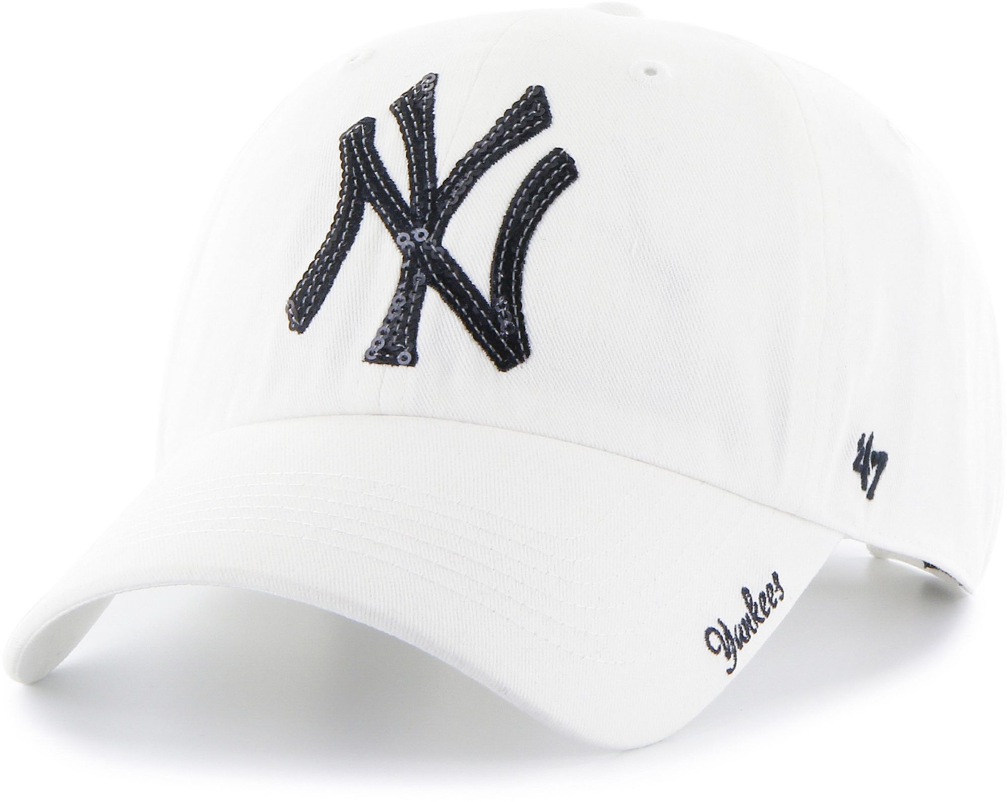 ... product image · 47 womens new york yankees sparkle clean up white  adjustable hat · 48438e9fb97