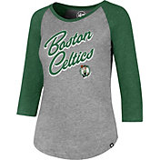 '47 Women's Boston Celtics Club Grey/Kelly Green Three-Quarter Sleeve Shirt