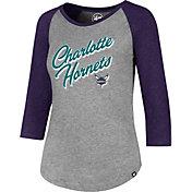 '47 Women's Charlotte Hornets Club Grey/Purple Three-Quarter Sleeve Shirt