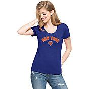 '47 Women's New York Knicks Wordmark Royal Scoop Neck T-Shirt