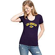 '47 Women's Los Angeles Lakers Wordmark Purple Scoop Neck T-Shirt