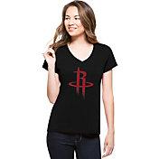 '47 Women's Houston Rockets Splitter Logo Black V-Neck T-Shirt