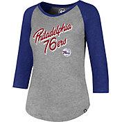 '47 Women's Philadelphia 76ers Club Grey/Royal Three-Quarter Sleeve Shirt