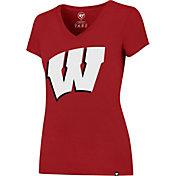 '47 Women's Wisconsin Badgers Red Splitter V-Neck T-Shirt