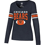 '47 Women's Chicago Bears Club Stripe Navy Long Sleeve Shirt