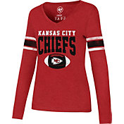 '47 Women's Kansas City Chiefs Club Stripe Red Long Sleeve Shirt