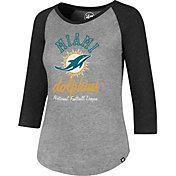 '47 Women's Miami Dolphins Club Grey Raglan T-Shirt