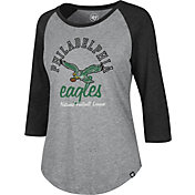 '47 Women's Philadelphia Eagles Club Legacy Grey Raglan Shirt