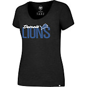 '47 Women's Detroit Lions Foil Black T-Shirt