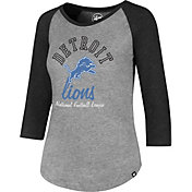 '47 Women's Detroit Lions Club Grey Raglan T-Shirt