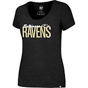 '47 Women's Baltimore Ravens Foil Black T-Shirt