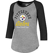 '47 Women's Pittsburgh Steelers Club Grey Raglan T-Shirt