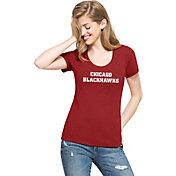 '47 Women's Chicago Blackhawks Red Scoop Neck T-Shirt
