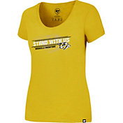 '47 Women's Nashville Predators Slogan Club Gold Scoop Neck T-Shirt