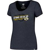 '47 Women's Nashville Predators Slogan Club Navy Scoop Neck T-Shirt