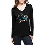 '47 Women's San Jose Sharks Splitter Black Long Sleeve T-Shirt