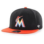 '47 Youth Miami Marlins Lil' Shot Captain Black Adjustable Snapback Hat