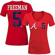 5th & Ocean Women's Atlanta Braves Freddie Freeman #5 Red Tri-Blend V-Neck T-Shirt