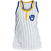 5th & Ocean Women's Milwaukee Brewers Pinstripe White Tank