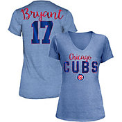 5th & Ocean Women's Chicago Cubs Kris Bryant #17 Royal Tri-Blend V-Neck T-Shirt