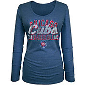 5th & Ocean Women's Chicago Cubs Tri-Blend Royal Long Sleeve Shirt