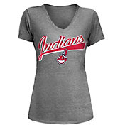 5th & Ocean Women's Cleveland Indians Grey Tri-Blend V-Neck T-Shirt