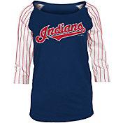 5th & Ocean Women's Cleveland Indians Three-Quarter Sleeve Shirt