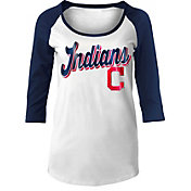5th & Ocean Women's Cleveland Indians White/Navy Three-Quarter Sleeve Shirt
