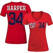 5th & Ocean Women's Washington Nationals Bryce Harper #34 Red Tri-Blend V-Neck T-Shirt