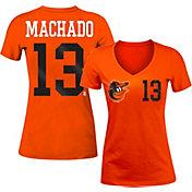 5th & Ocean Women's Baltimore Orioles Manny Machado #13 Orange Tri-Blend V-Neck T-Shirt