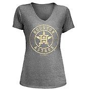 5th & Ocean Women's Houston Astros Grey Tri-Blend V-Neck T-Shirt
