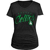 5th & Ocean Women's Boston Celtics Tri-Blend Black V-Neck T-Shirt