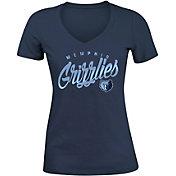 5th & Ocean Women's Memphis Grizzlies Navy Tri-Blend V-Neck T-Shirt