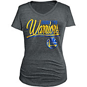 5th & Ocean Women's Golden State Warriors Tri-Blend Grey V-Neck T-Shirt