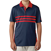 adidas Boys' 3-Stripes Chest Print Golf Polo