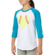 adidas Girls' Destiny Heart ¾ Sleeve Softball Shirt