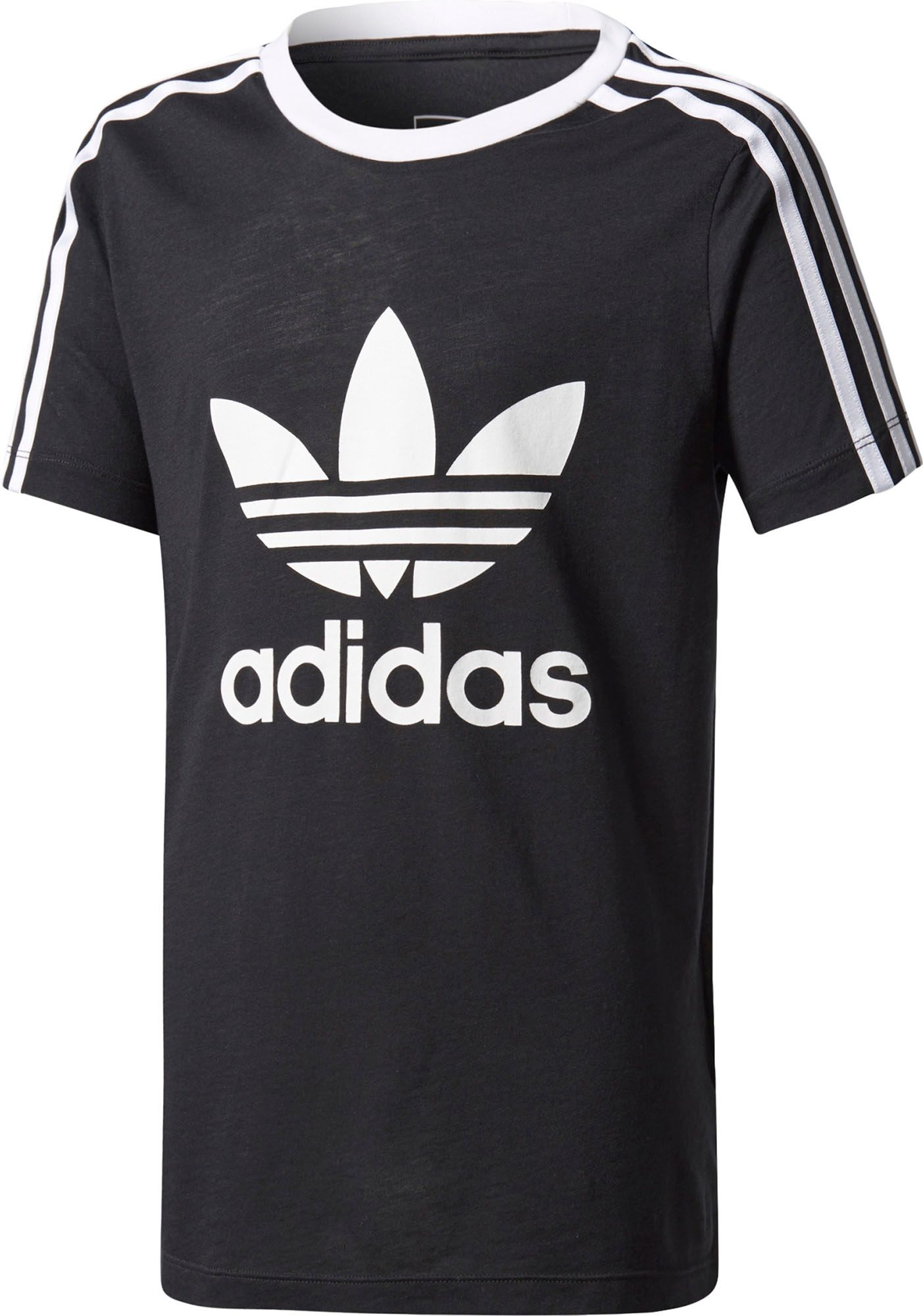 Black t shirt with white stripes - Adidas Originals Girls 3 Stripes Trefoil T Shirt